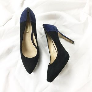 Louise et Cie Two Tone Blue and Black Suede Heels